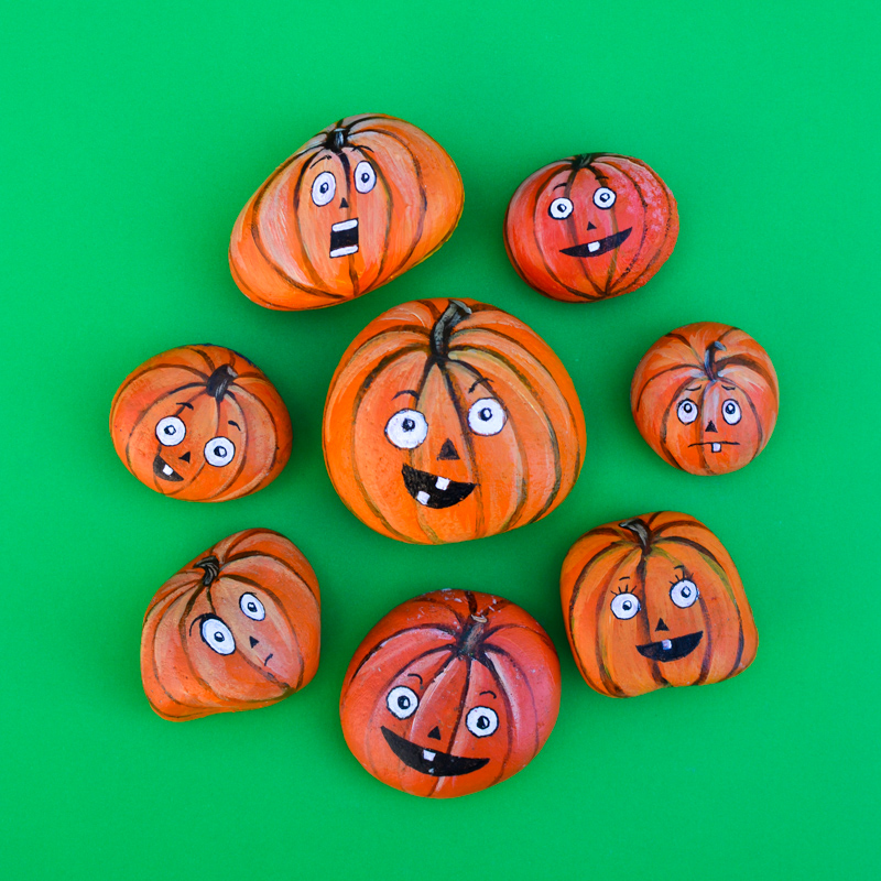 Halloween Pumpkin Painted Rocks