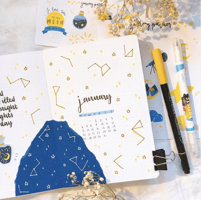 january bullet journal stars