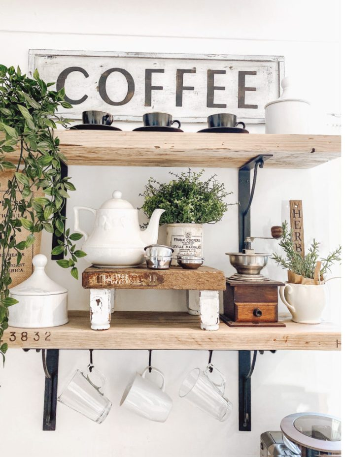 coffee bar floating shelf set up