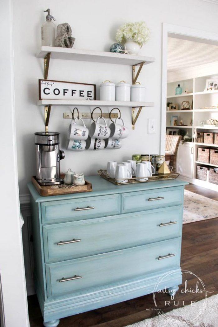 beachy coffee bar set up
