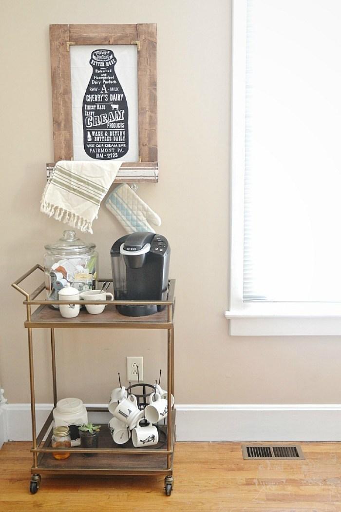 Rolling coffee bar set up