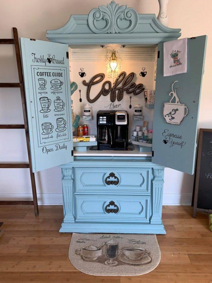 Blue coffee bar armoire