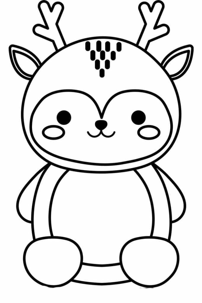 Deer Kawaii Coloring Page