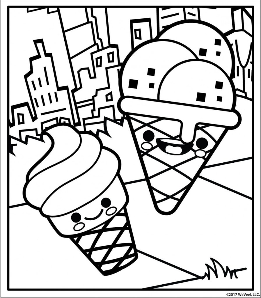 Ice Cream Kawaii Coloring Pages