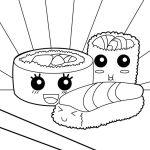 Sushi Kawaii Coloring Page