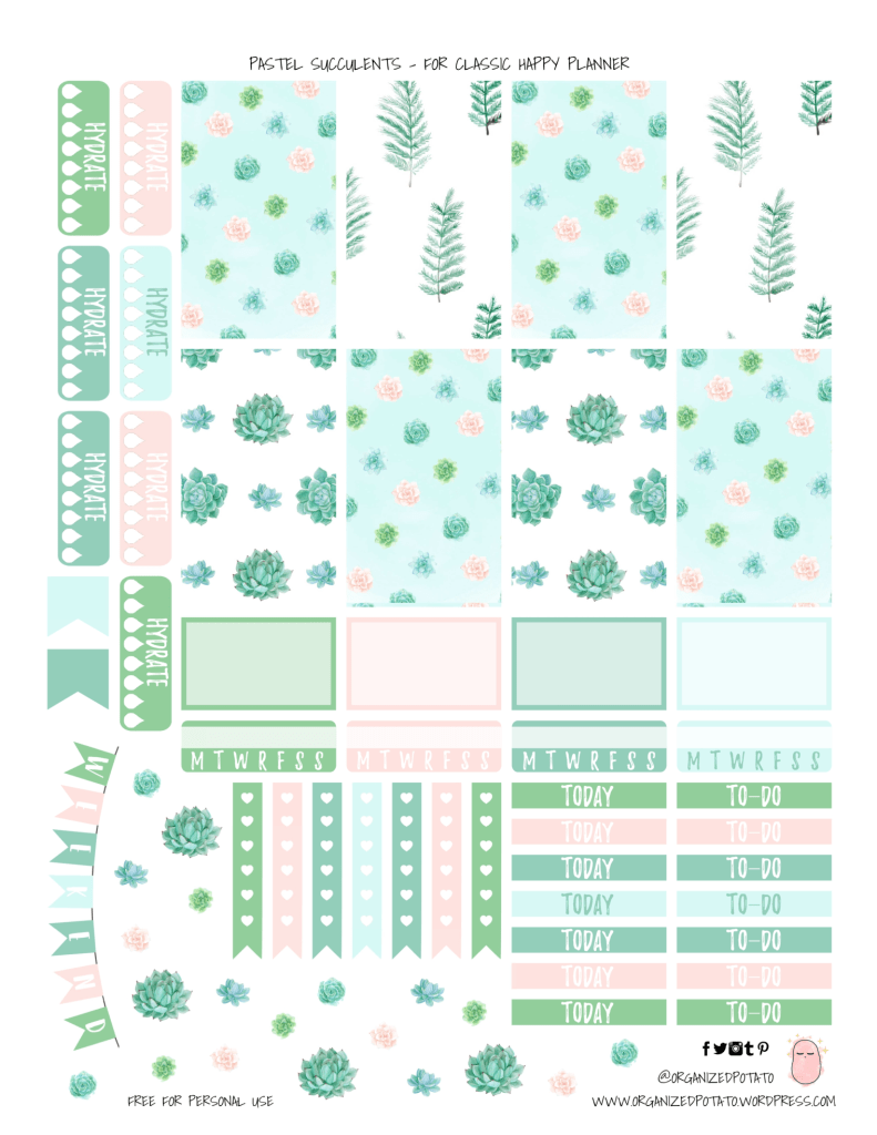 Succulent Printable Planner Stickers