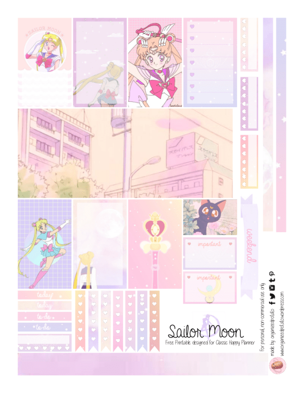 Sailor Moon Printable Planner Stickers