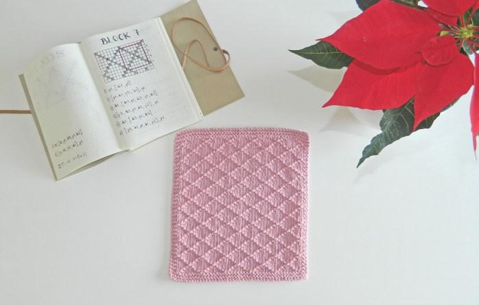 BLOCK 7 of 12 blocks of Xmas knitted blanket OhLaLana dishcloth free pattern