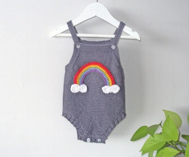 knitting pattern rainbow baby romper