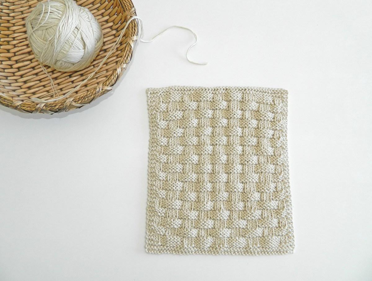Basket stitch knitting pattern BLOCK 10 12 blocks Xmas knitted blanket OhLaLana dishcloth free pattern