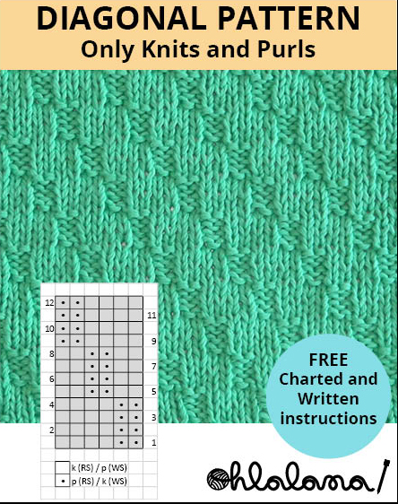 DIAGONAL knitting pattern DIAGONAL stitch pattern ohlalana