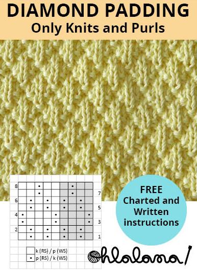 DIAMOND PADDING knitting pattern DIAMOND PADDING stitch pattern ohlalana