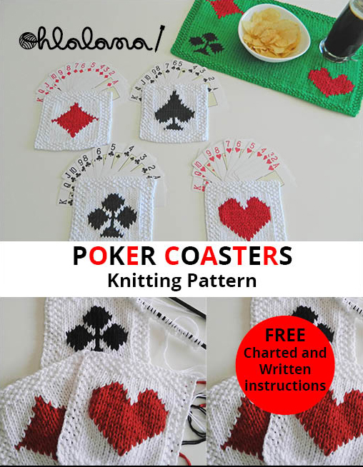 POKER COASTERS knitting pattern ohlalana poker knitting pattern