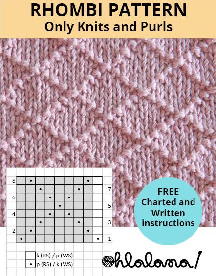 RHOMBI knitting pattern DIAMONDS stitch pattern ohlalana