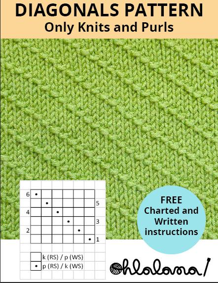 DIAGONALS knitting pattern DIAGONALS stitch pattern ohlalana
