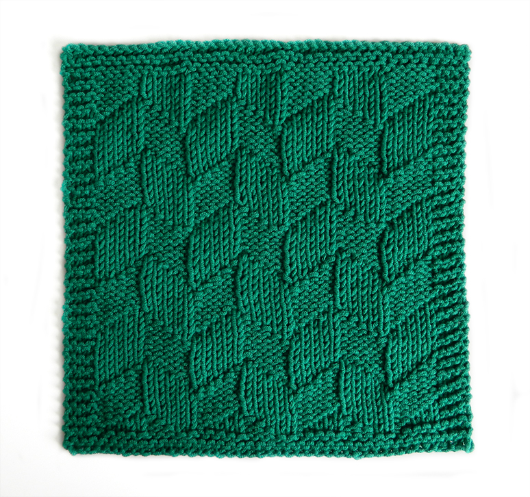BIG HERRINGBONE stitch knitting pattern 52 SQUARE PICKUP knitted blanket BIG HERRINGBONE knitting pattern OhLaLana dishcloth free pattern