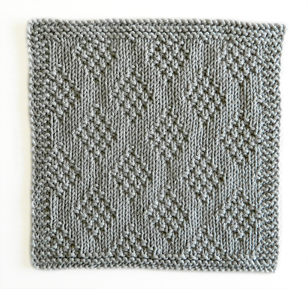 DIAMONDS stitch knitting pattern 52 SQUARE PICKUP knitted blanket DIAMONDS knitting pattern OhLaLana dishcloth free pattern