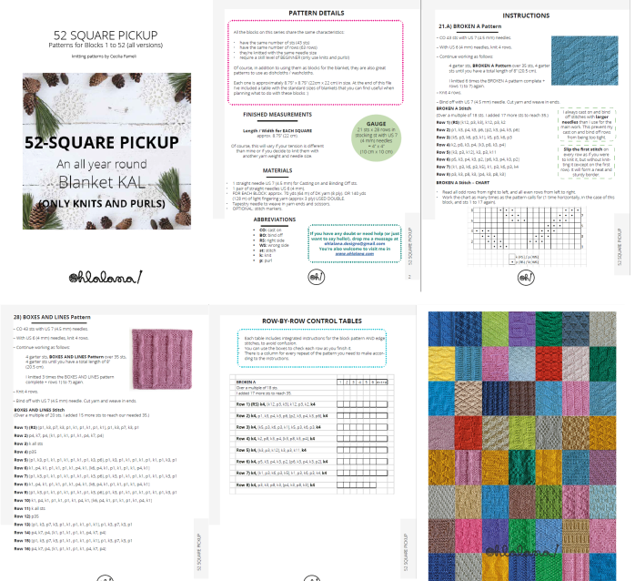 52 square pickup ohlalana patterns knits and purls