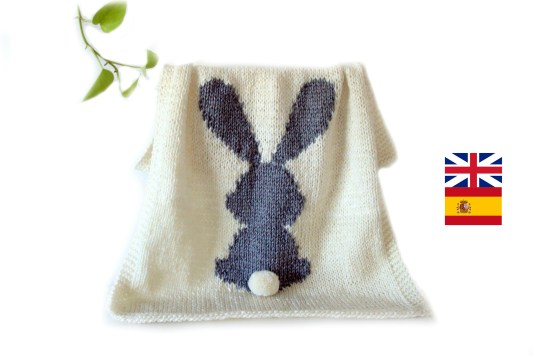 Bunny Baby Blanket knitting pattern, Rabbit Blanket Baby Pattern, 2 SIZES, Rabbit blanket, beginner knitting, Instant download, pdf ohlalana