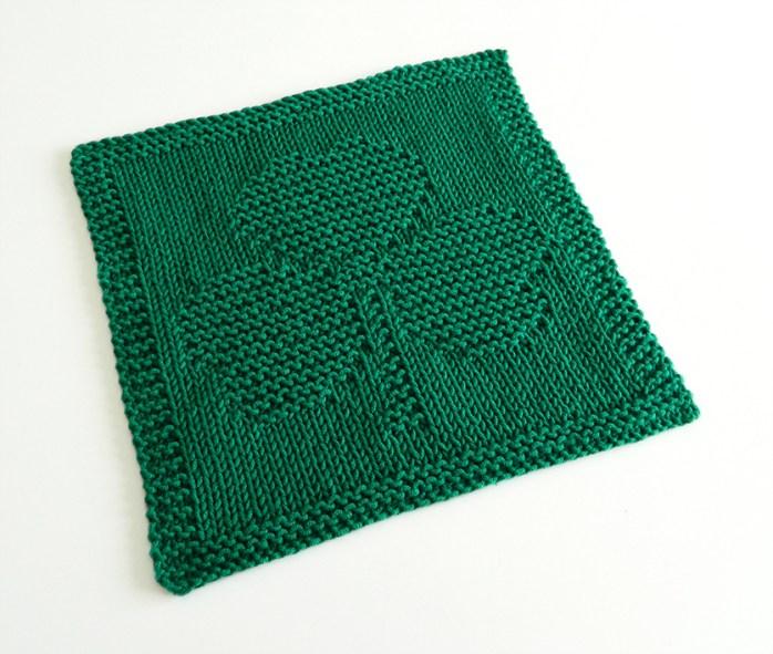 SHAMROCK dishcloth, SHAMROCK pattern, BEGINNER BLANKET MKAL 2020, CLOVER dishcloth pattern, ST PATRICKS knitting pattern, OhLaLana dishcloth free pattern