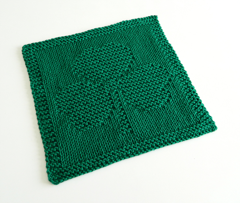 SHAMROCK dishcloth, SHAMROCK pattern, BEGINNER BLANKET MKAL 2020, CLOVER dishcloth pattern, ST PATRICKS knitting pattern, OhLaLana dishcloth free pattern