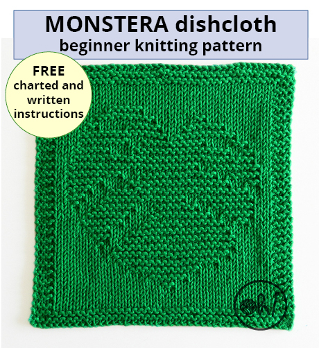 MONSTERA knitting pattern, MONSTERA dishcloth, MONSTERA pattern, BEGINNER BLANKET MKAL 2020, monstera deliciosa knitting pattern monstera deliciosa dishcloth, OhLaLana dishcloth free pattern