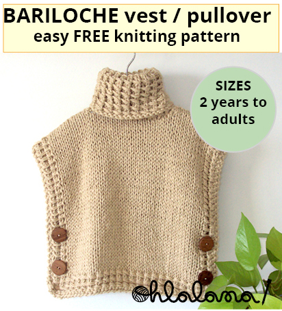 BARILOCHE Easy Vest Knitting Pattern, easy knitting patter, easy pullover pattern, easy poncho knitting, ohlalana, ohlalana designs