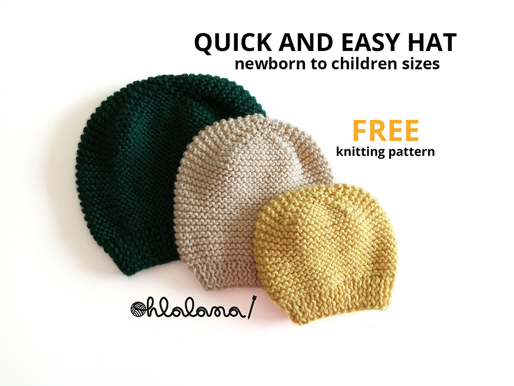 knitting a hat for beginners, garter stitch hat knitting pattern, free baby hat pattern, baby hat, free hat knitting pattern ohlalana