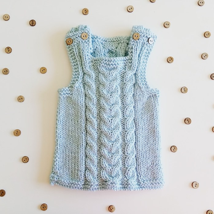 HEARTWARMER baby vest knitting pattern with cables, ohlalana