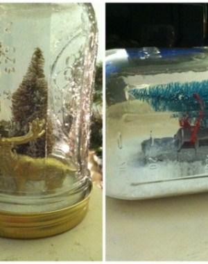 DIY mason jar holiday snow globes on Oh Lovely Day