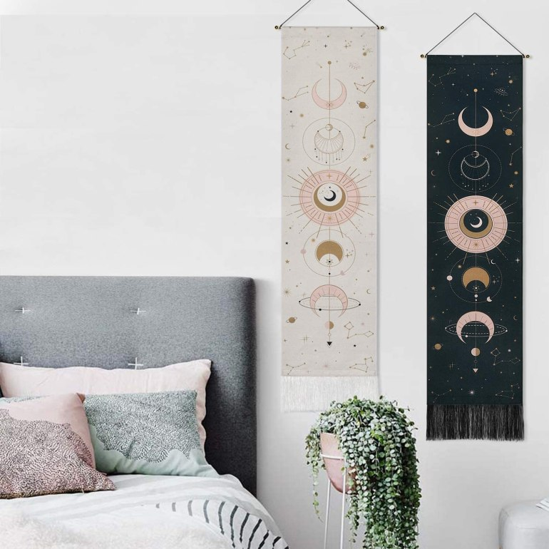 moon phase long tapestry for wall in black and white