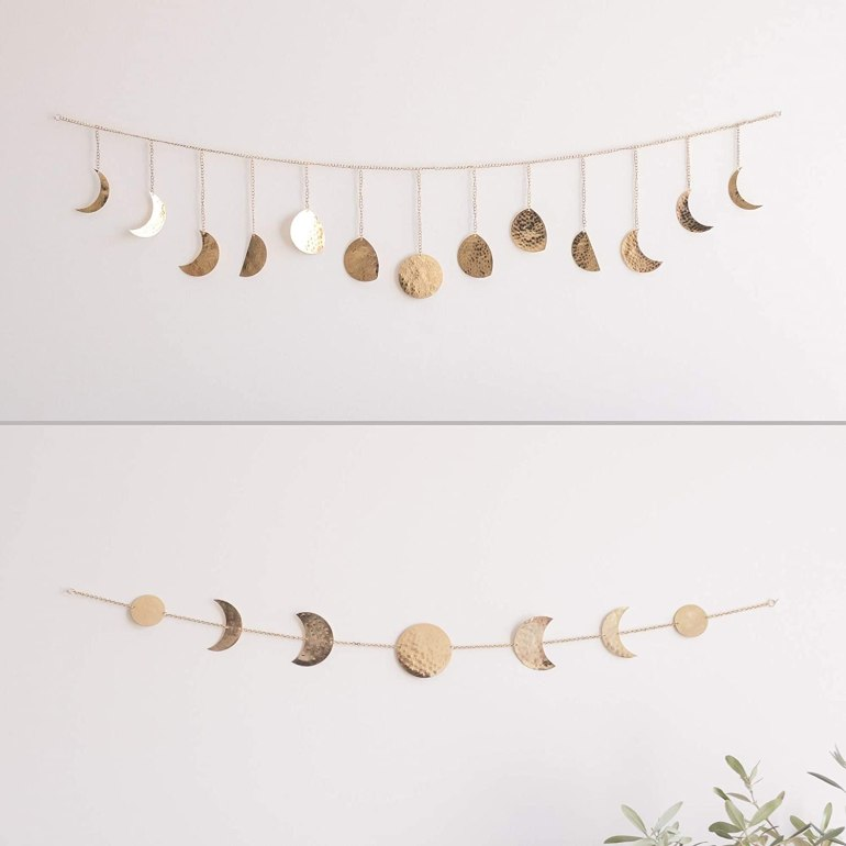 Gold wall chain with phases of the moon
