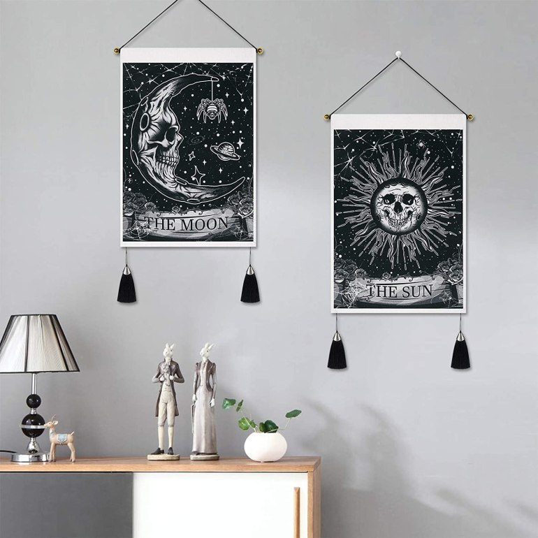 sun and moon halloween tapestry for wall