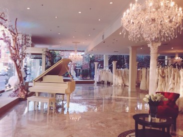 The gorgeous interior of Panache Beverly Hills. It's basically a wedding gown wonderland.