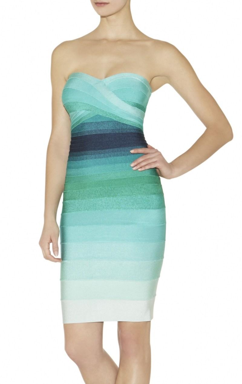 Hervé Léger | Izzie Ombre Dress in Green Opal Combo | $990