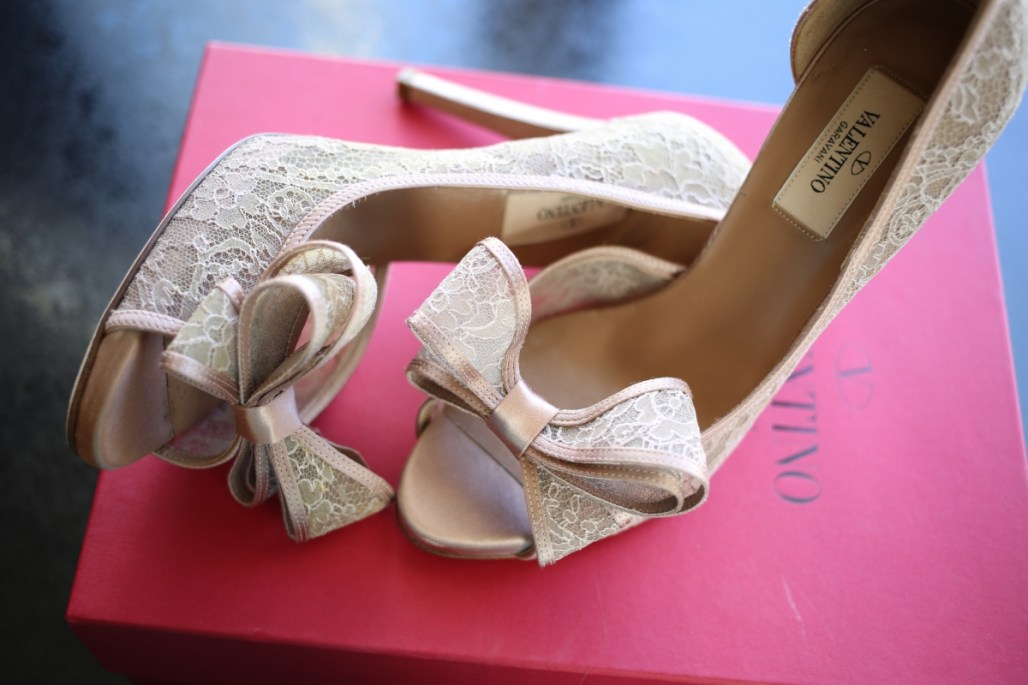Valentino Coutre Lace d'Orsay Pumps in Blush Lace
