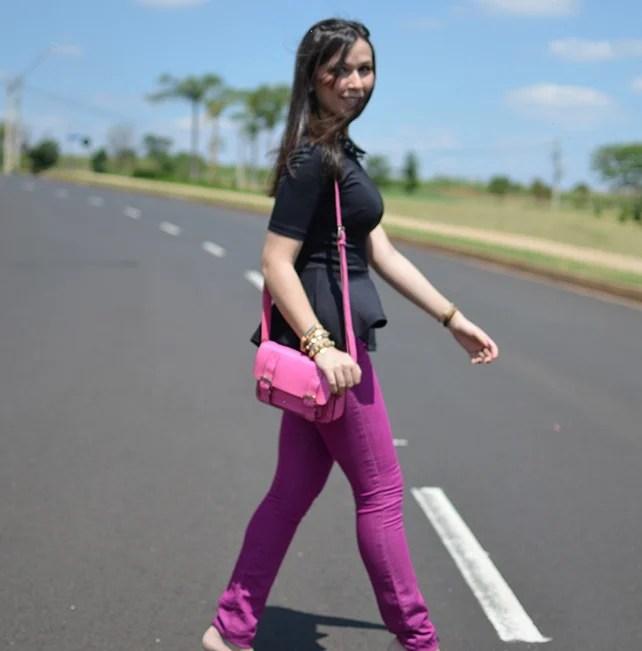 Look do dia peplum calça colorida h&m gap schutz bolsa inspired cambridge satchel blog de moda