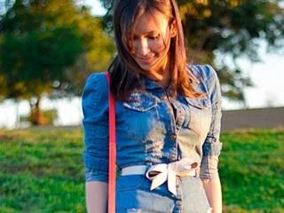 look do dia vestido jeans blog de moda oh my closet rose wholesale denim dress monica araujo sapato vermelho bolsa zara oncinha