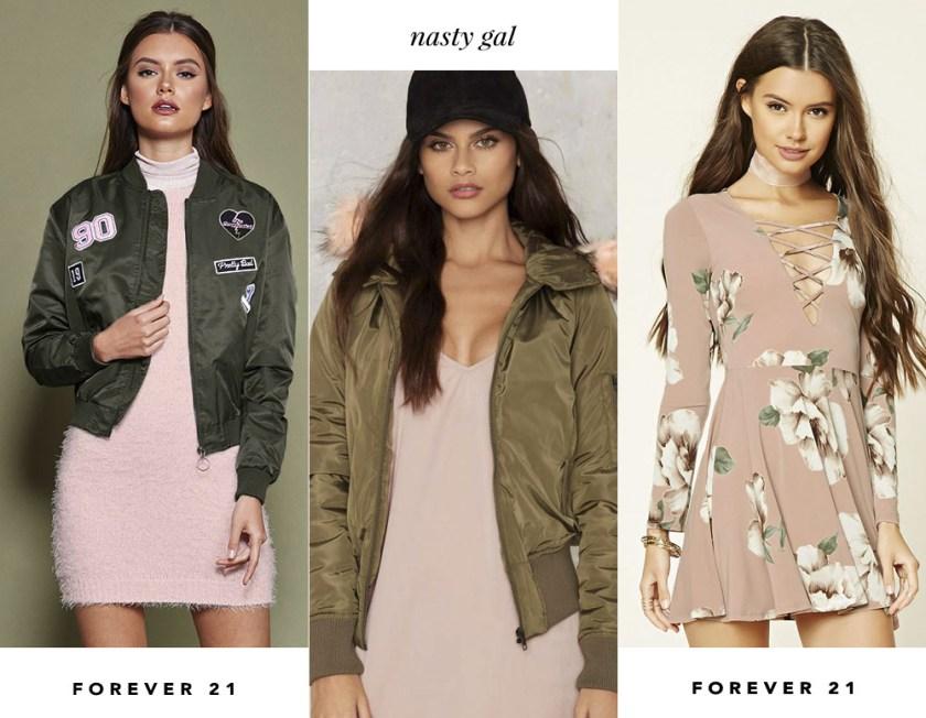 Rosa blush e verde militar foram a mais nova tendência de combo de cores e o Oh My Closet mostra a novidade pra vocês!