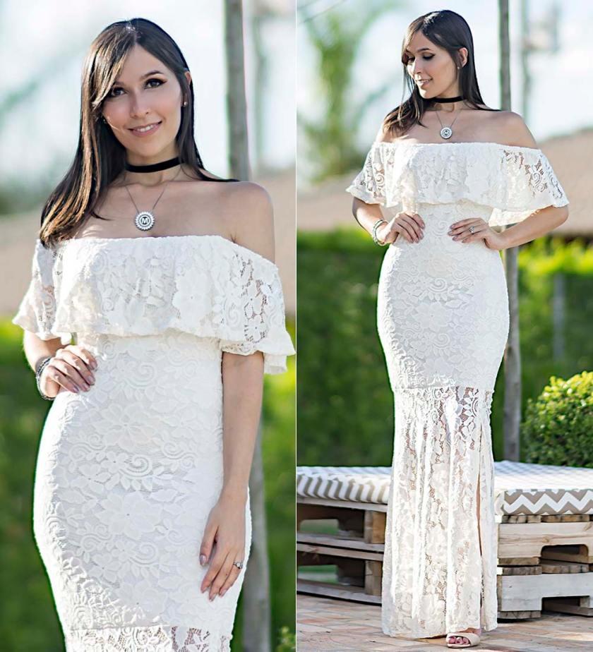 Vestido de Renda Branco Ypslon Atacado