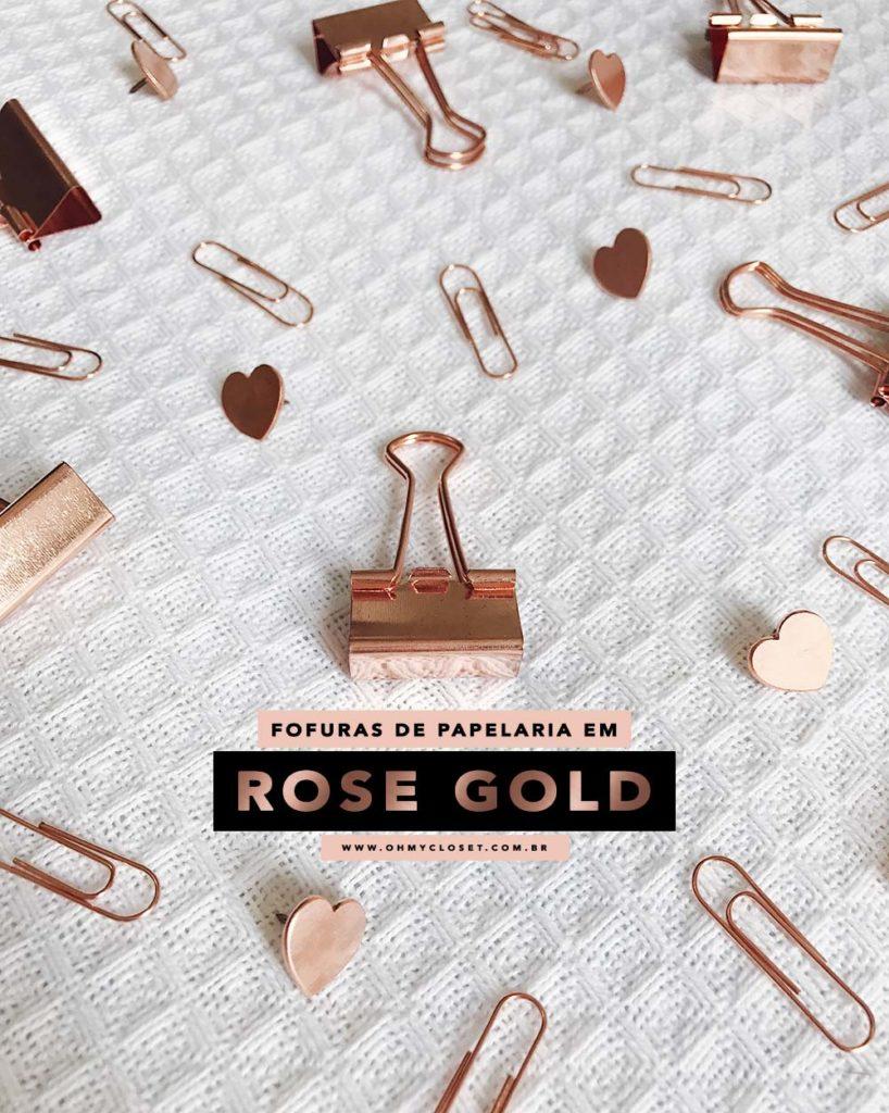 Papelaria fashion: achamos clips e outras fofura no ouro rosê. Vem ver onde comprar online!