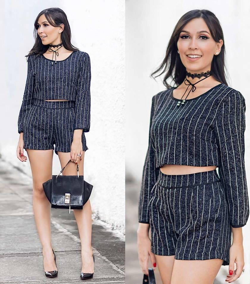 Look blogger Mônica Araújo conjunto risca de giz Ypslon Atacado Oh My Closet!