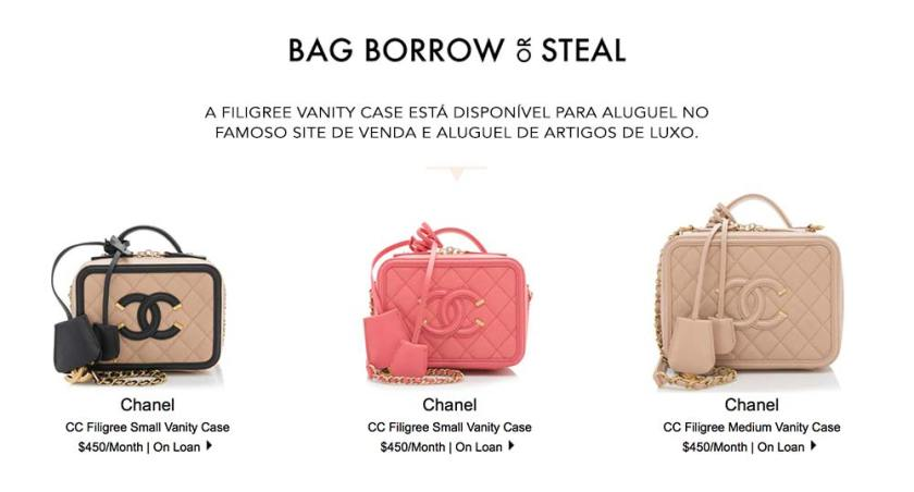 Onde comprar ou alugar a Chanel Filigree Vanity Case. Site Bag Borrow or Steal.