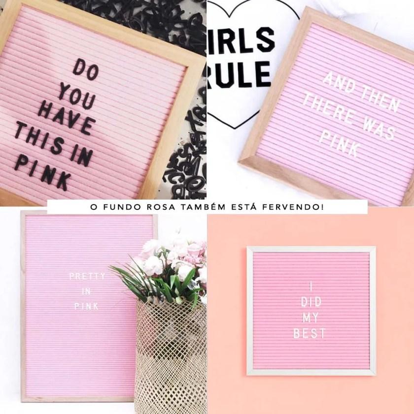 Felt letter board, quadrinhos de feltro rosa.