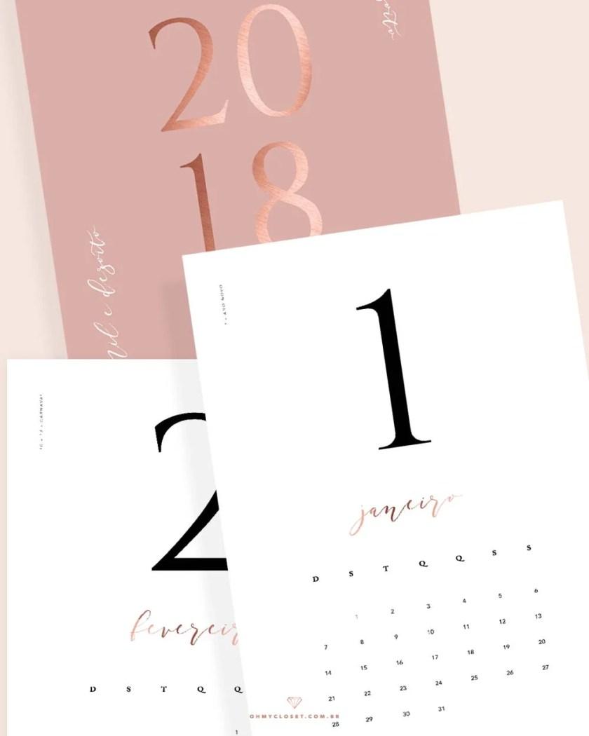 Calendário 2018 minimalista mês a mês para baixar e imprimir grátis, por Oh My Closet!