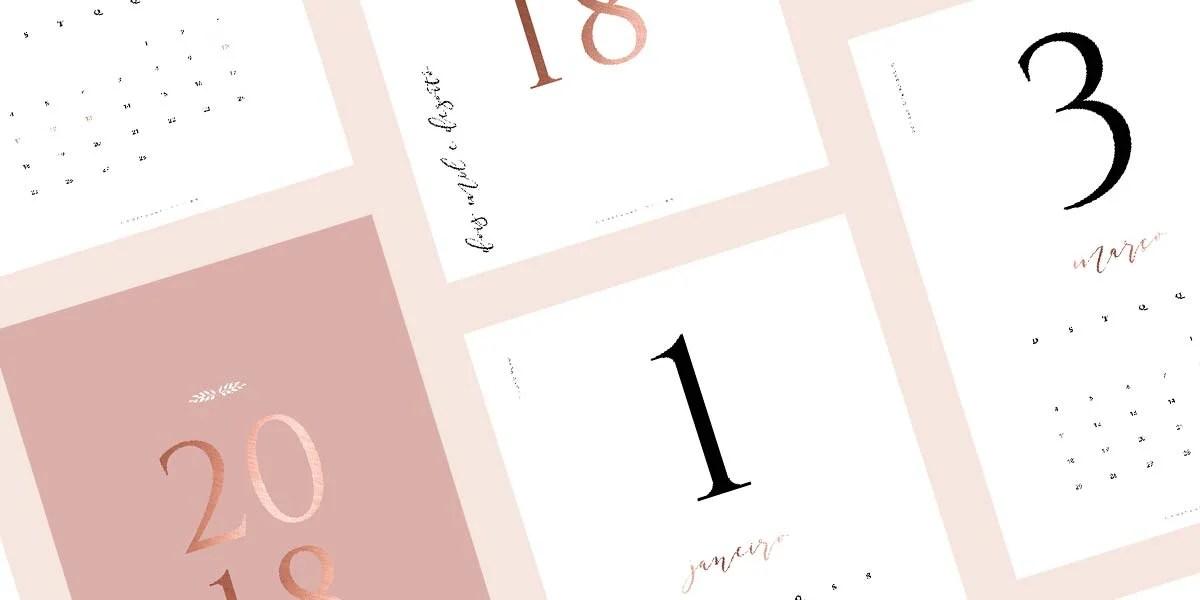 Calendário 2018 grátis para imprimir com design clássico e minimalista do Oh My Closet!