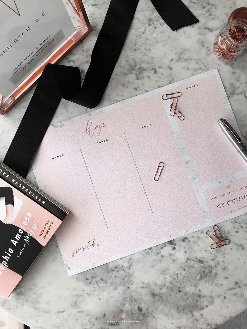 Planner diário 2018 rosa blush e mármore.
