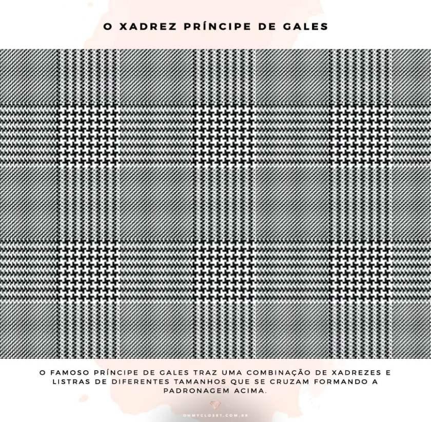 O que é e como é o xadrez Príncipe de Gles, detalhes da padronagem.