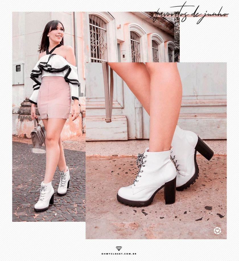 Review de bota coturno tratada em verniz branco da Moleca.