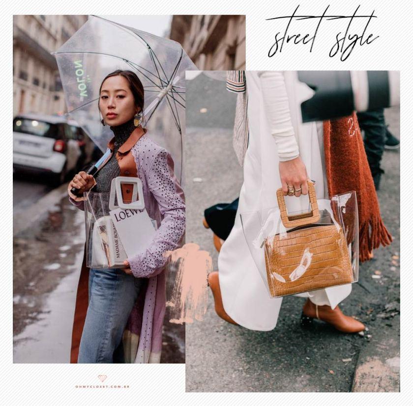 Bolsas transparentes no street style com Aimee Song. Clear bags são tendencia do verão 2019.